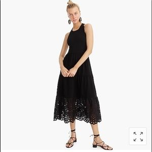 J. Crew Tiered Maxi Dress Eyelet Trim Large Black